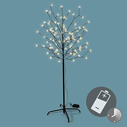 Weihnachtsbeleuchtung Mit Timer.96 Led Baum Mit Blüten Blütenbaum Lichterbaum Warm Weiß 150 Cm