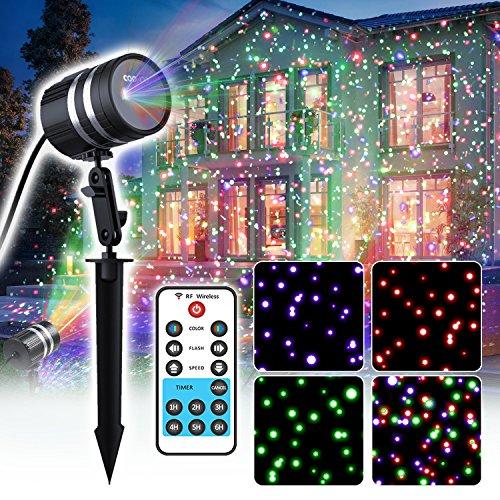 coowoo weihnachtsbeleuchtung f r innen und au en rgb rot blau gr n sterne weihnachts projektor. Black Bedroom Furniture Sets. Home Design Ideas
