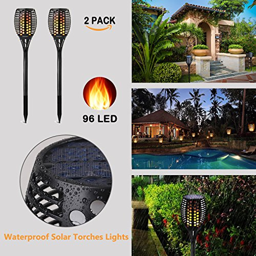 solarleuchten 2er solar lichter garten 96 led flamme fackeln f r drau en led flammen licht led. Black Bedroom Furniture Sets. Home Design Ideas