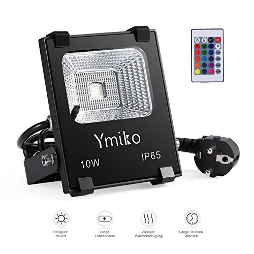 ymiko 10w rgb led fluter floodlight strahler led au enstrahler 16 farbwechsel und 4 modi ip65. Black Bedroom Furniture Sets. Home Design Ideas