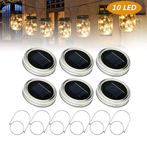 Solar Led Weihnachtsbeleuchtung.Solar Mason Jar Licht Lids 6 Pack Tencoz 10led String Lights Fee
