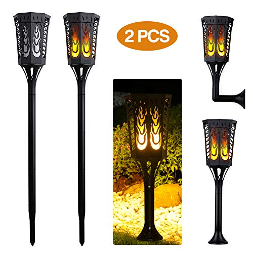 actopp solarleuchte garten 2 st ck gartenleuchte lichtsensor solarlampen mit flammen f r au en. Black Bedroom Furniture Sets. Home Design Ideas