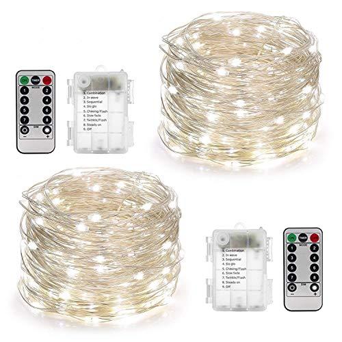 yihong 2 st ck lichterkette batterie 5m 50er led lichterkette au en mit fernbedienung und timer