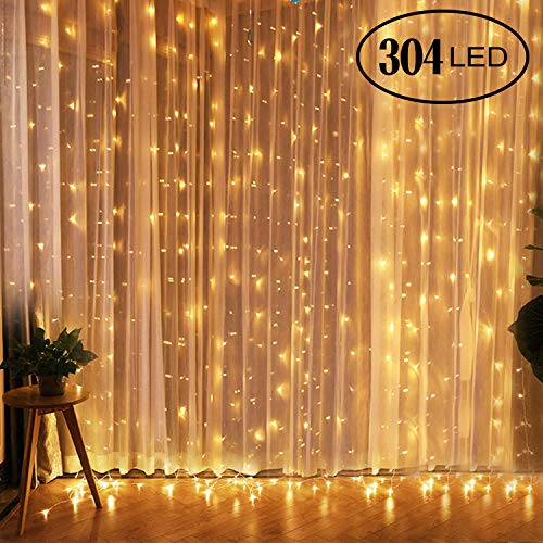 qomolo lichterkette 300 leds lichterkette vorhang 3x3m lichterkette innen warmwei 8. Black Bedroom Furniture Sets. Home Design Ideas